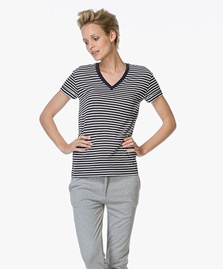 T by Alexander Wang Striped V-neck T-shirt - Navy/Ivory