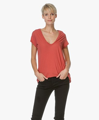 James Perse High Gauge Jersey Deep V T-Shirt - Sunstone