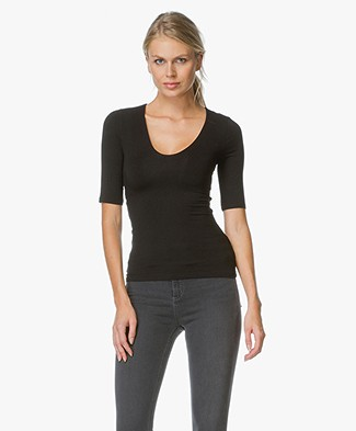 T by Alexander Wang T-shirt With Back Slit - Zwart