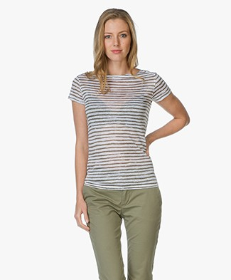 Majestic Striped Linen T-shirt - Khaki/White
