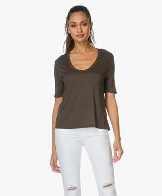 T by Alexander Wang Cropped Tee with Chest Pocket - Forest