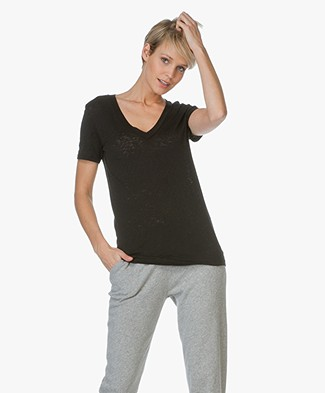 Rag & Bone The Classic V-hals T-shirt - Zwart