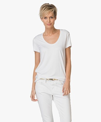 By Malene Birger Stretch-blend T-shirt Fevia - Pure White