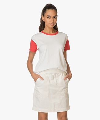 Rag & Bone / Jean Color Blocked Vintage Crew Tee - Off-white/Red