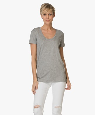 By Malene Birger Stretch-blend T-shirt Fevia - Grijs Mêlee