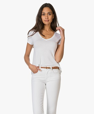 Majestic V-neck T-shirt in Viscose Jersey - White