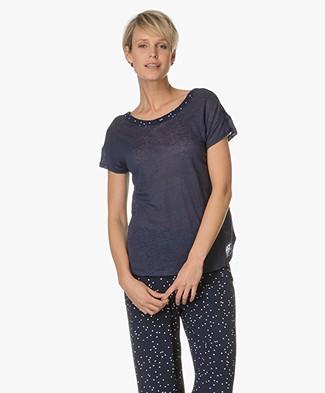 Marie Sixtine Brendan Linen-Viscose T-shirt - Ink Dots