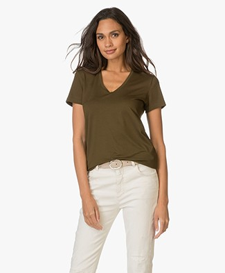 By Malene Birger Stretch-blend T-shirt Fevia - Hunter
