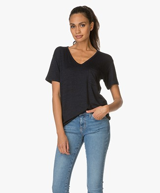 Rag & Bone Theo V-neck Tee - Navy/Black
