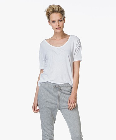 T by Alexander Wang - T by Alexander Wang Pima Cotton Low Neck Tee - Wit
