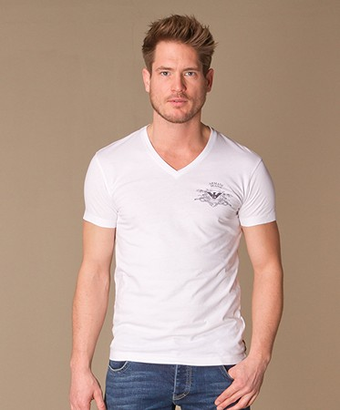 Heren Outlet - Armani Jeans T-shirt  - Wit
