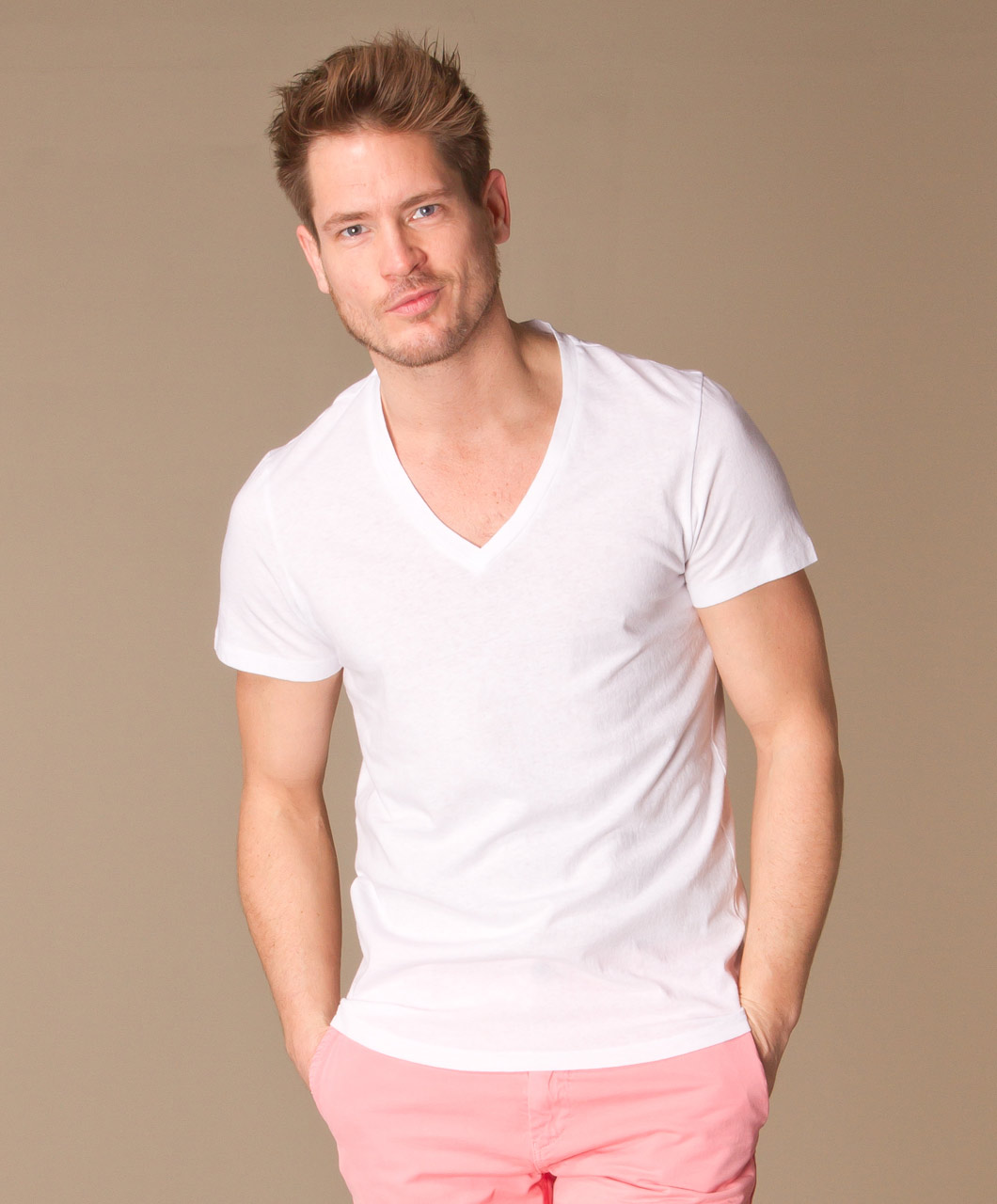 Shop the look statement pastel perfectly basics for Man in white shirt