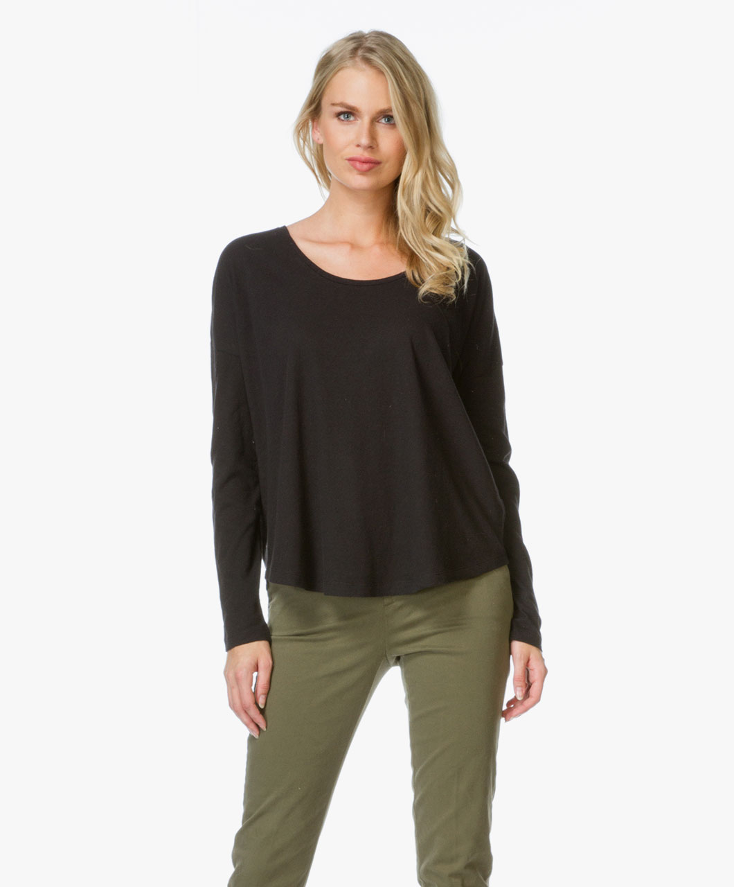 Closed Cotton and Linen Long Sleeve T-shirt - Black - c95640 426 01 ...