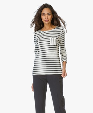 Petit Bateau Striped Long Sleeve - Ecru/Navy