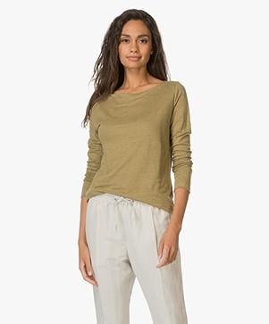 Petit Bateau Boat Neck Top in light Cotton - Olive
