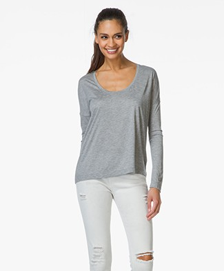 T by Alexander Wang Jersey Round Neck Tee - Heather Grey