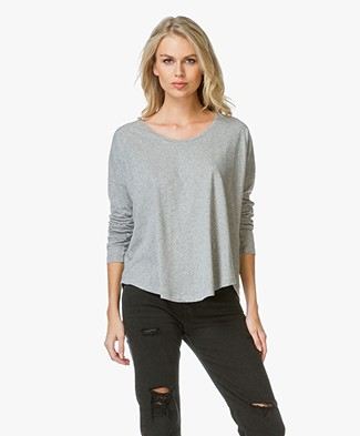 Closed Cotton and Linen Long Sleeve T-shirt - Light Grey
