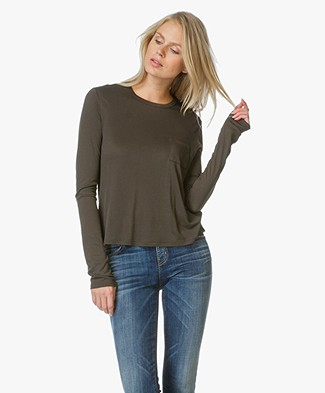 T by Alexander Wang Long Sleeve with Chest Pocket - Forest