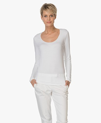 Majestic Soft T-shirt with Round Neck - White