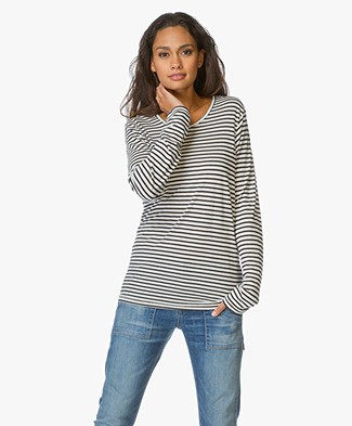 Anine Bing Striped Long Sleeve T-Shirt - Black/Off-white