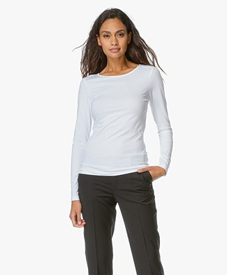 Filippa K Fine Lycra R-neck Top - Wit