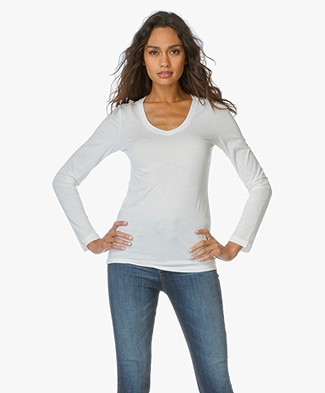 BRAEZ Jersey V-Neck Long Sleeve Top - Off-white