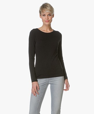 Filippa K Fine Lycra R-neck Top - Zwart