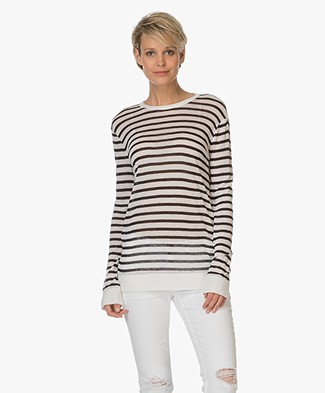 T by Alexander Wang Striped Linen T-shirt  - Ink/Ivory