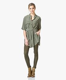 Equipment Matteo Silk Blouse Dress - Dusty Olive