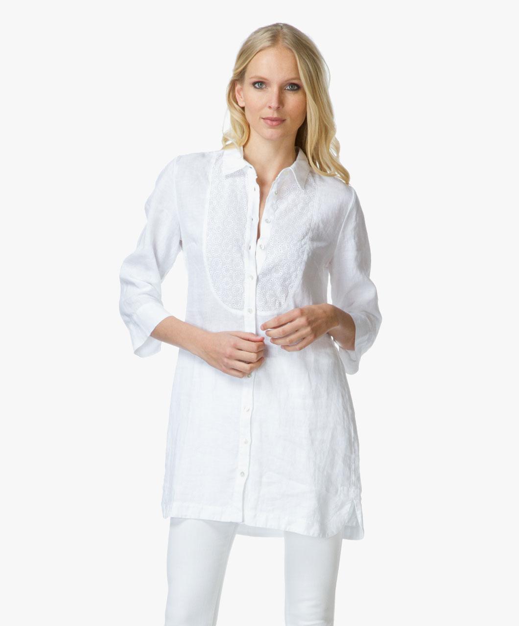 White Linen Tunic Blouse 83