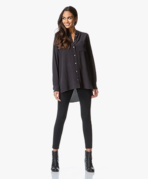 Equipment Melodie Lange Zijden Tuniekblouse - True Black