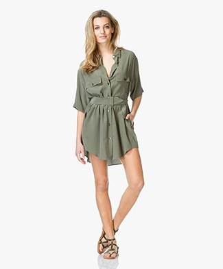 Equipment Matteo Silk Blouse Dress - Dusty Olive