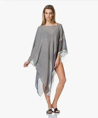 SU Paris Syama Striped Gauze Poncho Kaftan