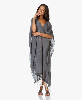 SU Paris Jimba Striped Cotton V-neck Kaftan