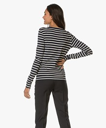 Petit Bateau Jersey Vest met Iconische Streep - Donkerblauw/Ecru