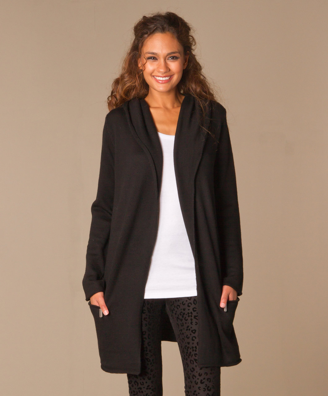 Repeat Merino Hooded Cardigan - Black - Repeat Cashmere