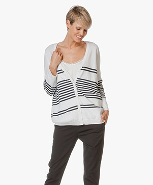 Repeat Oversized Cardigan with Stripes - Salt/Dark Blue