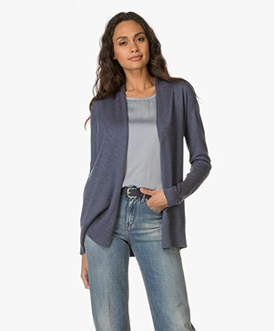 Belluna Suite Gebreid Open Vest - Jeans