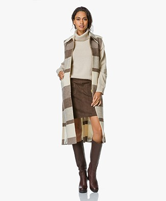 Filippa K Hollie Block Stripe Cardigan Coat - Nougat
