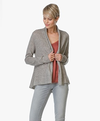Repeat Cashmere and Linen Open Cardigan - Earth