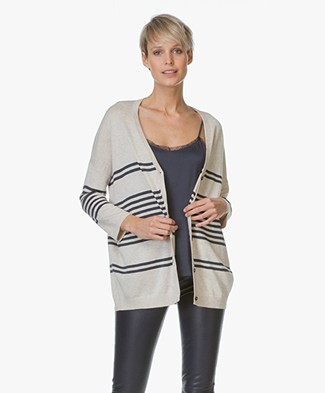 Repeat Oversized Cardigan with Stripes - Hay/Navy