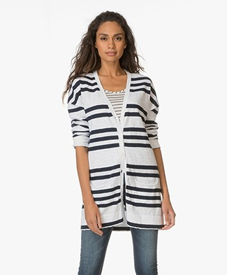 no man's land Cotton Cardigan with Stripes - Midnight/White