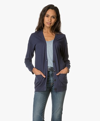 Closed Linen and Cotton Blend Cardigan - Indigo Blue
