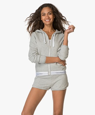 Calvin Klein Cardigan with Hoodie - Light Grey