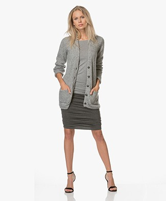 Closed Half Long Cardigan with V-neck - Grey Melange