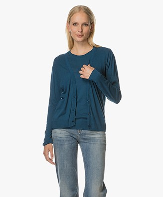 Majestic Short Cardigan in Cashmere Blend - Baltic Blue