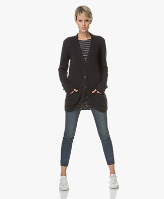 Closed Half Long Cardigan with V-neck - Navy