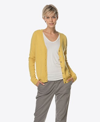Repeat Cashmere V-neck Cardigan - Mustard