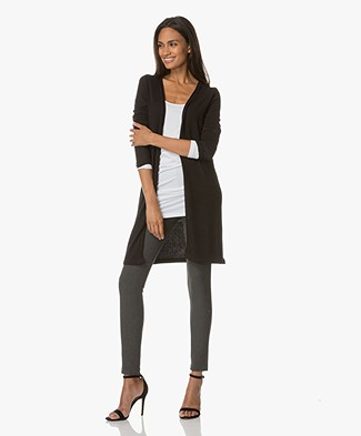BRAEZ Ultra-soft Open Cardigan with Side Slits - Black