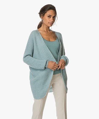 no man's land Knitted Open Cardigan - Lagoon